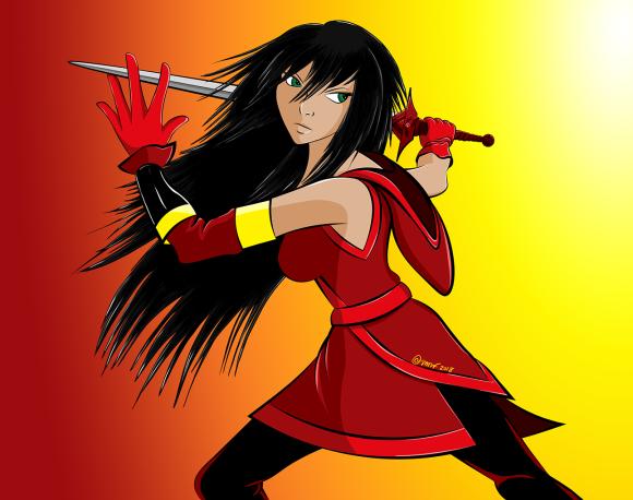 Shiobe with sword